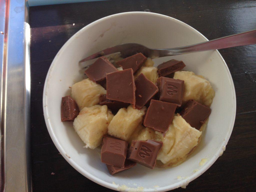 Grillad banan med choklad